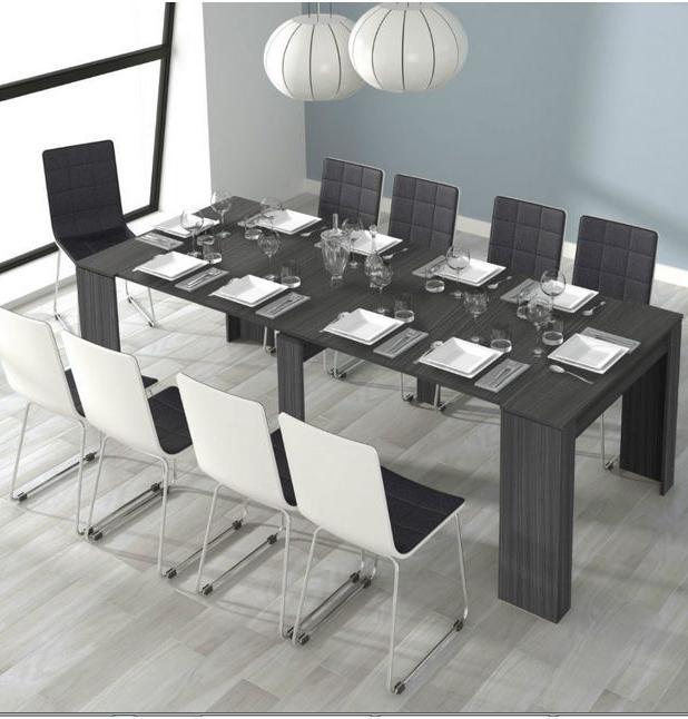 Grande 5 Position Extending Ash Grey Soft Gloss Dining Table inside Grey Gloss Dining Tables