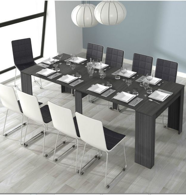 Grande 5 Position Extending Ash Grey Soft Gloss Dining Table Throughout Gloss Dining Tables (Image 13 of 25)