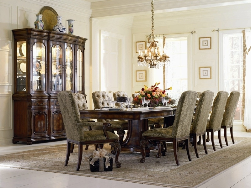 Grandeur 7 Piece Double Pedestal Dining Table Set In Cherry Ash Burl Intended For Parquet 7 Piece Dining Sets (Image 11 of 25)