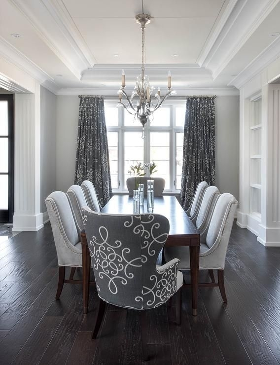 Gray Dining Room Features A Tray Ceiling Accented With A Satin For Dark Dining Room Tables (Image 21 of 25)