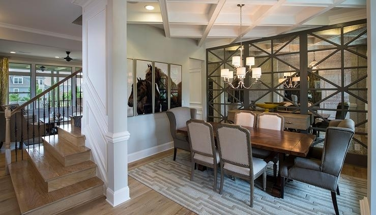 Gray Dining Room With Floor To Ceiling Antiqued Mirrored Cabinets with regard to Antique Mirror Dining Tables