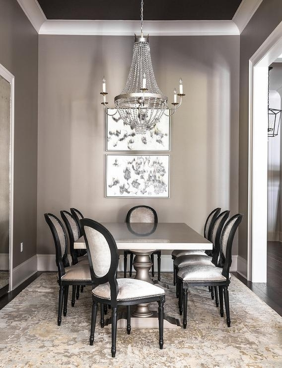 Gray Dining Room With Gray Dining Table And Gold And Gray Rug In Paris Dining Tables (Image 9 of 25)