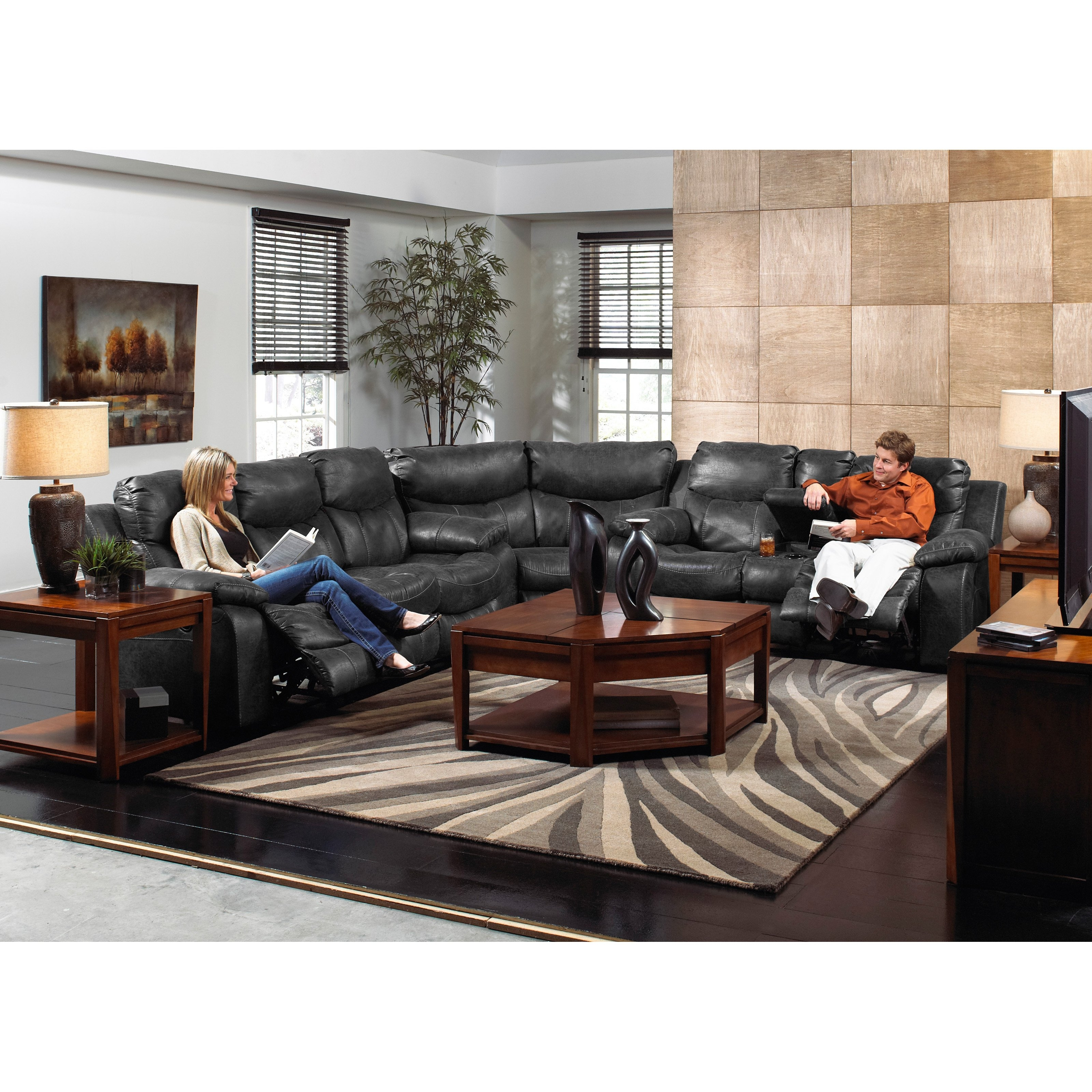 Gray Leather Reclining Sectional inside Clyde Grey Leather 3 Piece Power Reclining Sectionals With Pwr Hdrst & Usb