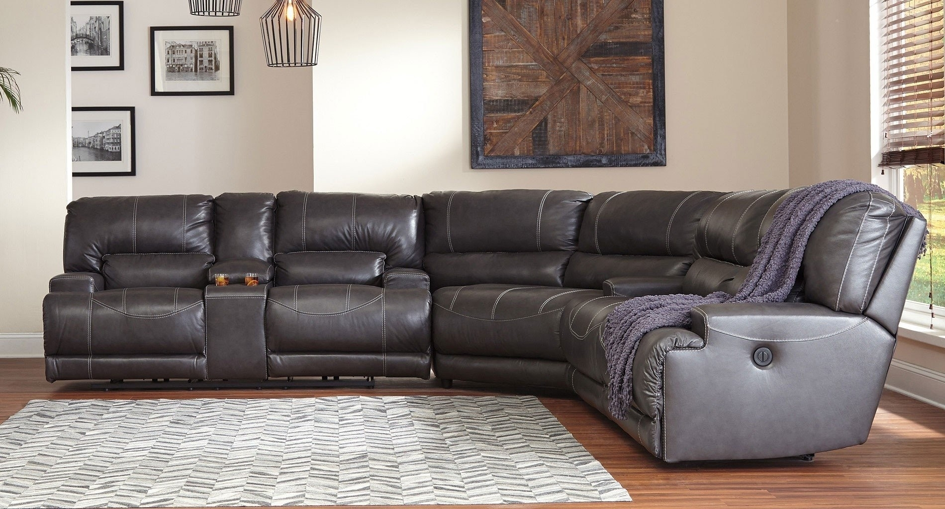 Gray Reclining Sectional Denali Light Grey 6 Piece W 2 Power Within Denali Light Grey 6 Piece Reclining Sectionals With 2 Power Headrests (Image 12 of 25)