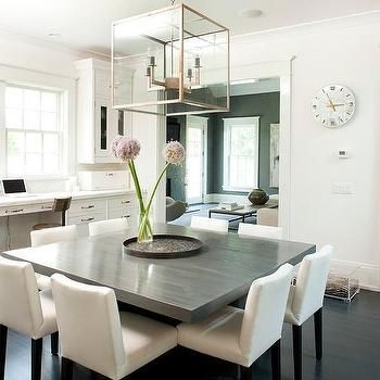 Gray Square Dining Table With White Dining Chairs | For The Home In Throughout White Dining Sets (Image 13 of 25)