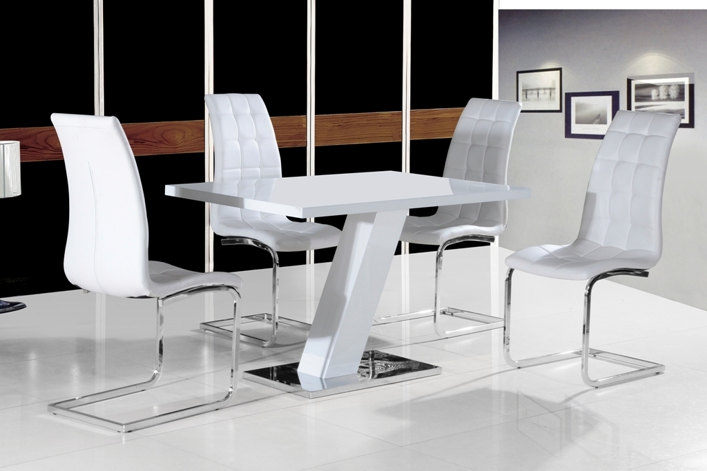 Grazia White High Gloss Contemporary Designer 120 Cm Compact Dining With High Gloss Dining Sets (Image 10 of 25)