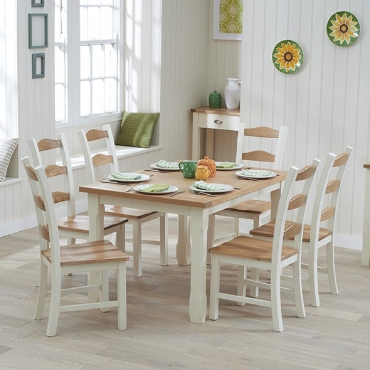 Great Offers On Sandringham Oak & Painted Range At Oak Furniture House Throughout Oak Dining Tables With 6 Chairs (Image 10 of 25)