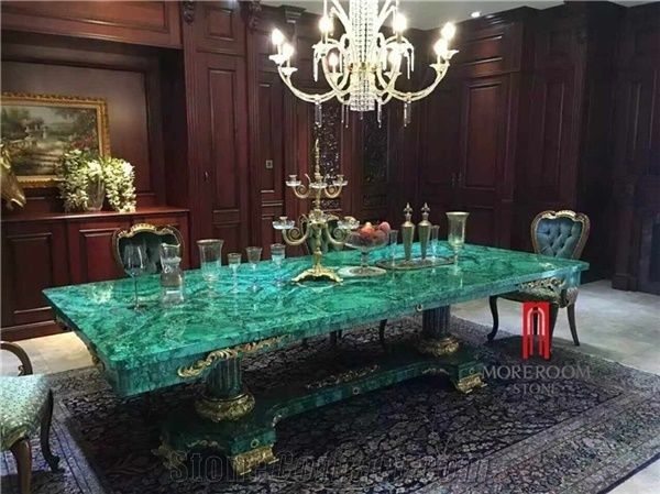 Green Malachite Price Dining Table Top Backlit Green Stone In Green Dining Tables (Image 16 of 25)