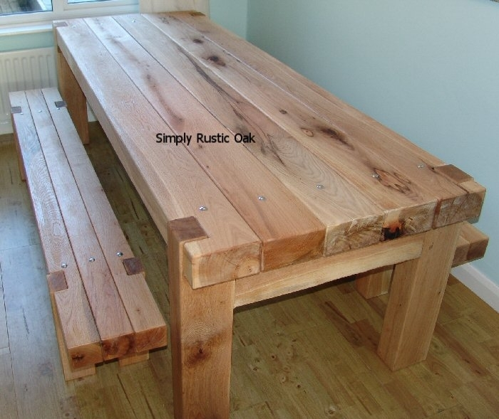 Green Oak Beam Dining Tables Ss Bolts – Simply Rustic Oak For Rustic Oak Dining Tables (Image 6 of 25)