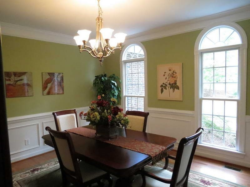 Green Paint Colors For Small Dining Room With Hanging Light Fixtures With Regard To Combs 7 Piece Dining Sets With  Mindy Slipcovered Chairs (Image 11 of 25)