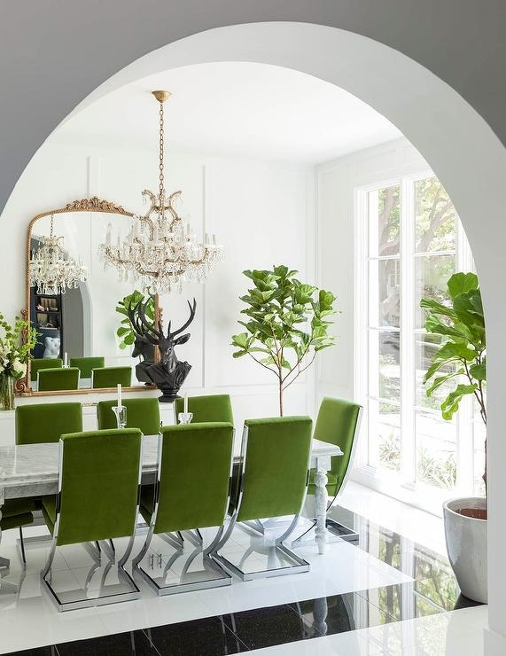Green Velvet Dining Chairs With Marble Dining Table – Contemporary In Green Dining Tables (Photo 24 of 25)