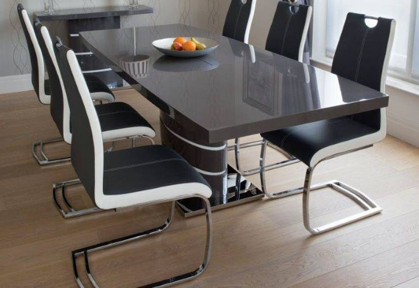 Greenapple Furniture – Rimini Lacquered Gloss Grey Or White Throughout Grey Dining Tables (Image 10 of 25)