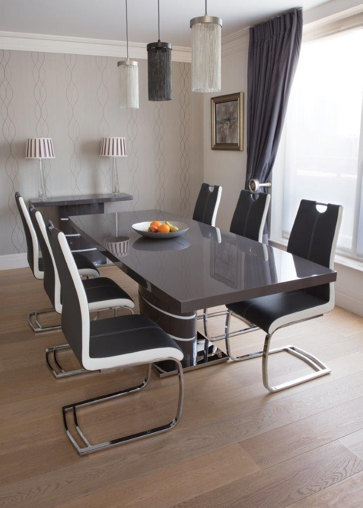 Greenapple Rimini High Gloss Extending Dining Table With Glass Top In Grey Glass Dining Tables (View 7 of 25)