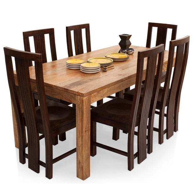 Gresham-Capra 6 Seater Dining Table Set – Lock And Pull intended for Wooden Dining Tables and 6 Chairs