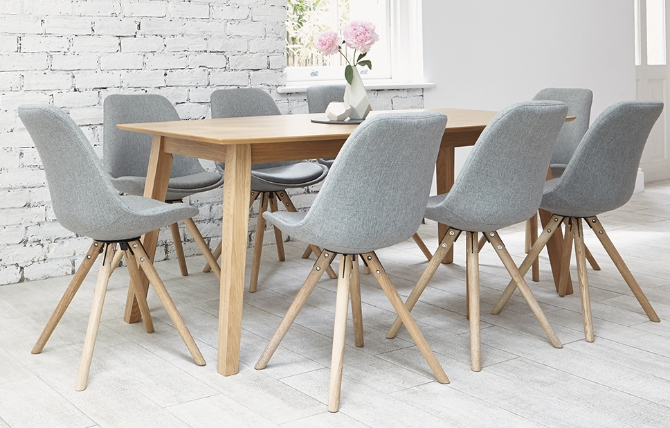 Grey 8 Seater Dining Set – Shell Chairs – Home Furniture – Out & Out In 8 Seater Oak Dining Tables (View 15 of 25)