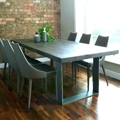 Grey And Wood Dining Table Set Chairs Modern Weathered – Novape With Regard To Grey Dining Tables (Image 11 of 25)