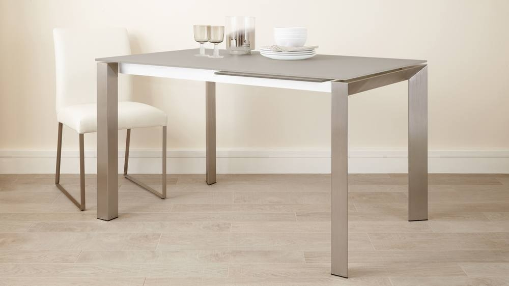 Grey Frosted Glass Dining Table | Extending Dining Table Uk Throughout Glass Extending Dining Tables (Image 14 of 25)