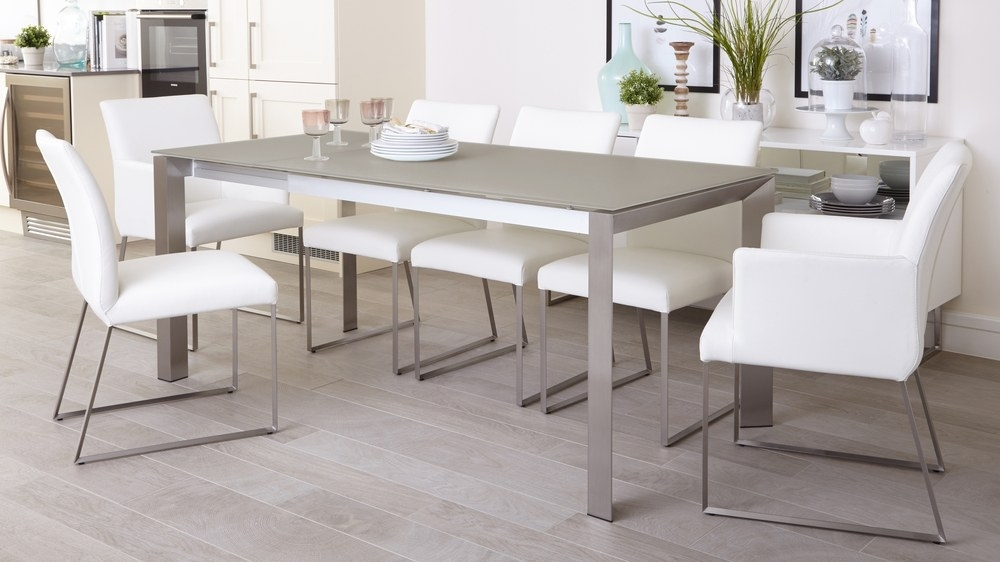 Grey Frosted Glass Dining Table | Extending Dining Table Uk With Smoked Glass Dining Tables And Chairs (Photo 4 of 25)