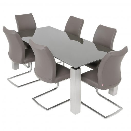 Grey Glass Dining Table & 6 Pada Chairs For Grey Glass Dining Tables (Image 14 of 25)