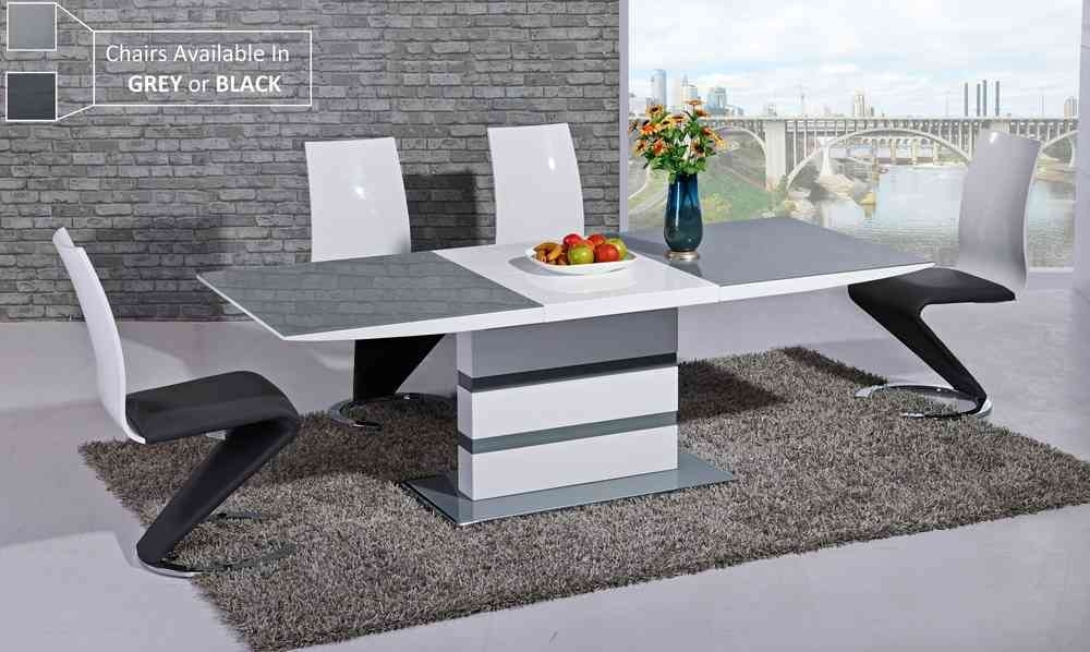 Grey Glass White High Gloss Dining Table And 8 Chairs  Homegenies Throughout White High Gloss Dining Tables 6 Chairs (Image 10 of 25)