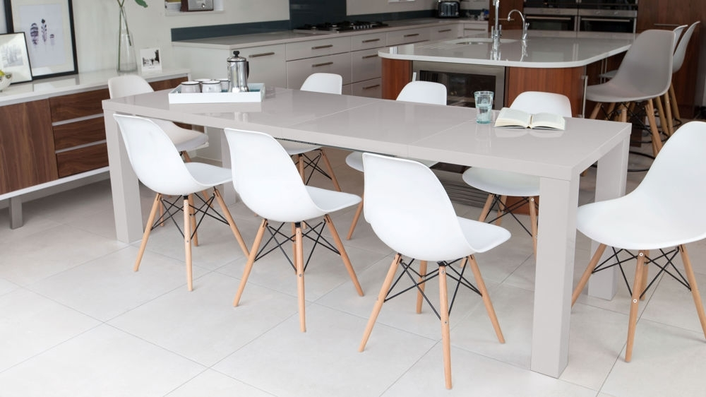 Grey Gloss Extending Dining Table And Eames Dining Chairs Pertaining To Grey Dining Tables (Image 13 of 25)