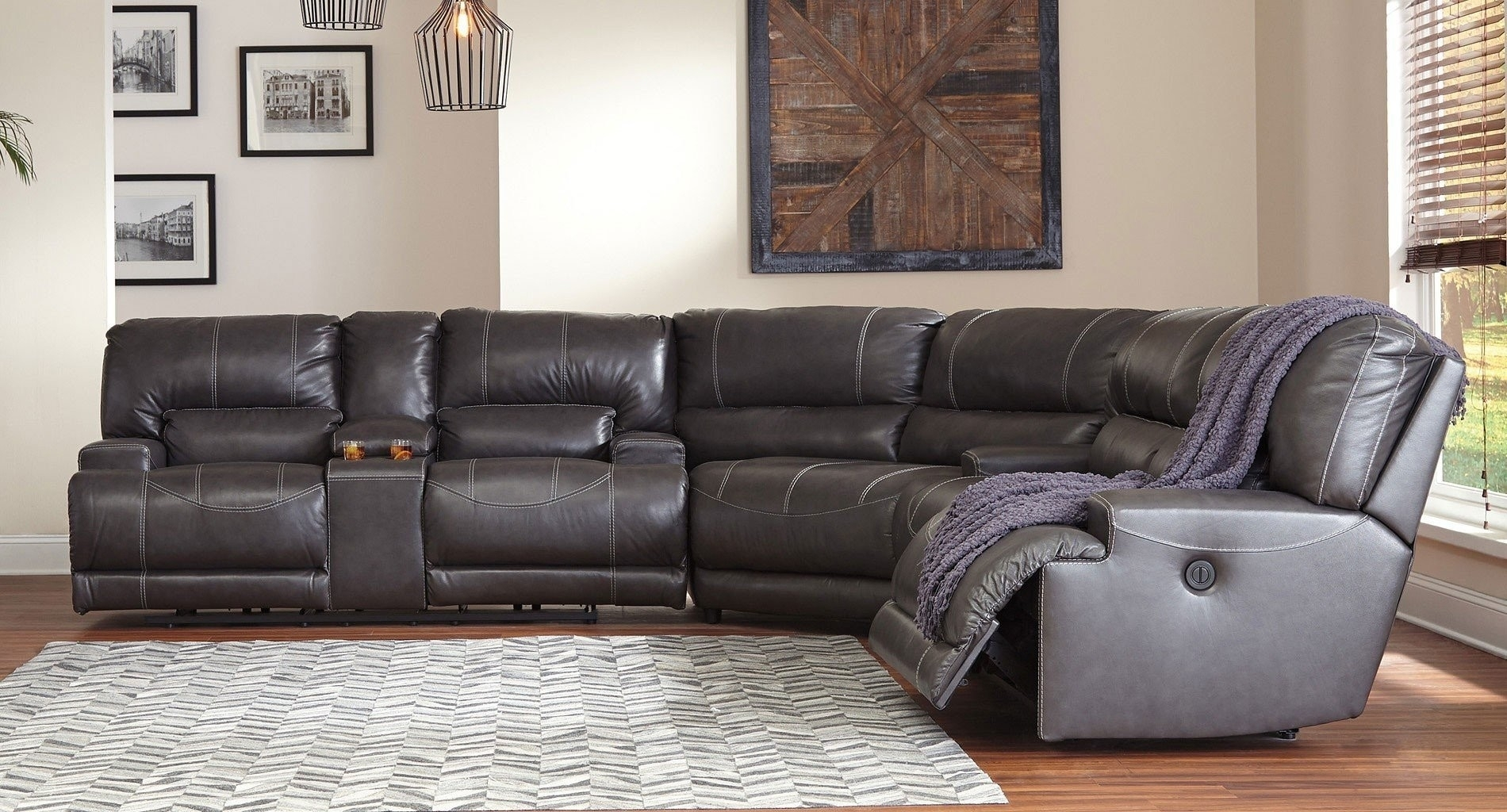 Grey Leather Reclining Sectional Clyde 3 Piece Power W Pwr Hdrst For Clyde Grey Leather 3 Piece Power Reclining Sectionals With Pwr Hdrst & Usb (Image 9 of 25)