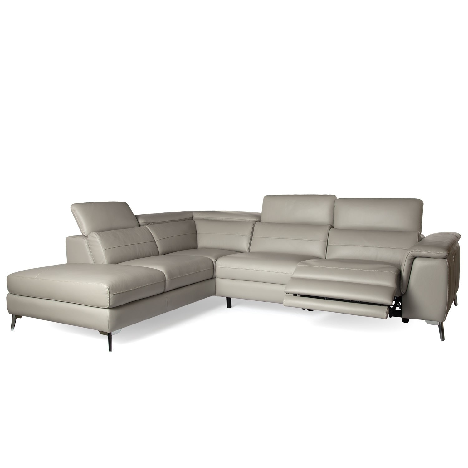Grey Leather Reclining Sectional Clyde 3 Piece Power W Pwr Hdrst Intended For Clyde Grey Leather 3 Piece Power Reclining Sectionals With Pwr Hdrst & Usb (Image 10 of 25)