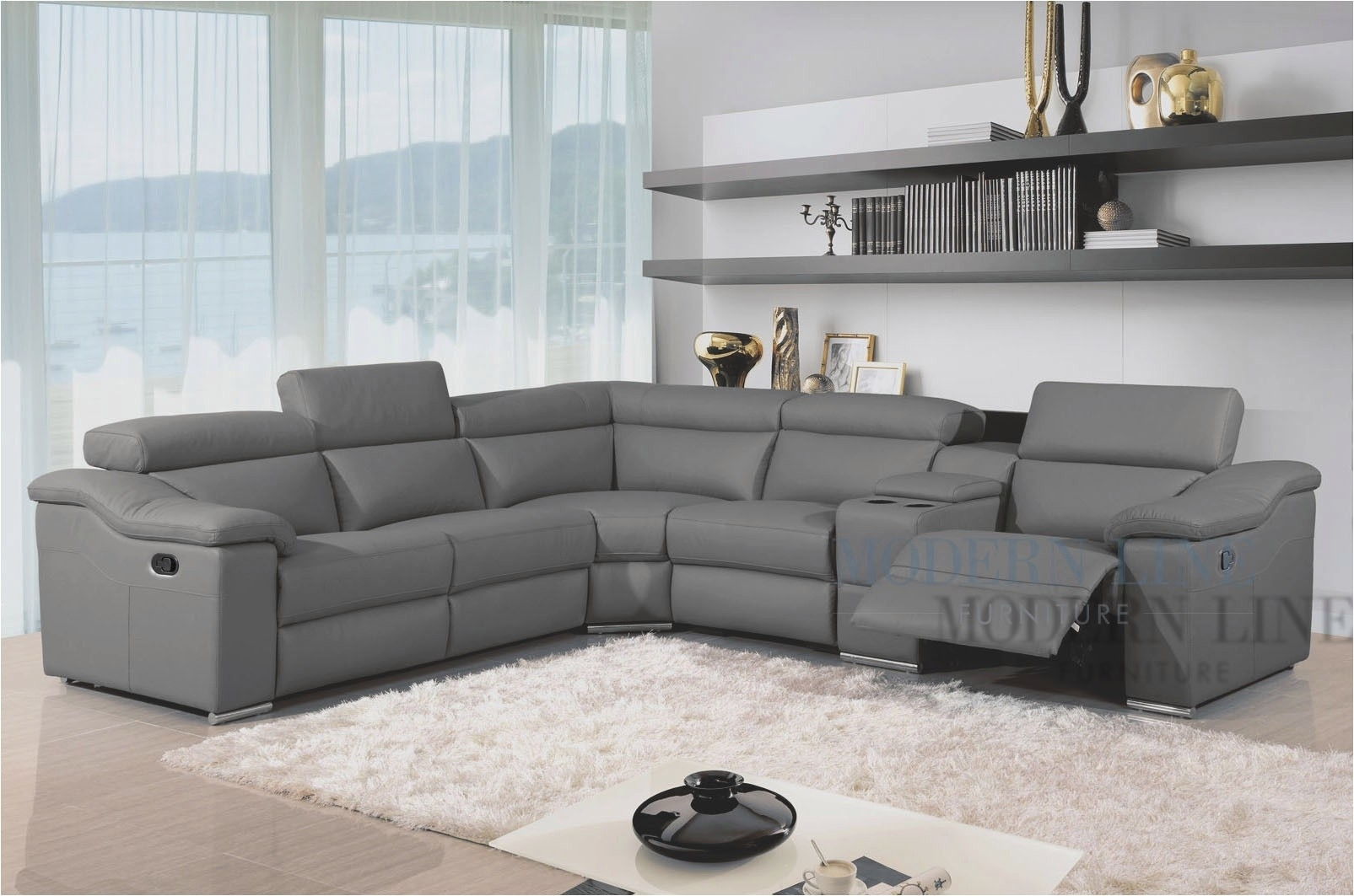 Grey Leather Reclining Sectional Clyde 3 Piece Power W Pwr Hdrst Regarding Clyde Grey Leather 3 Piece Power Reclining Sectionals With Pwr Hdrst & Usb (Image 11 of 25)