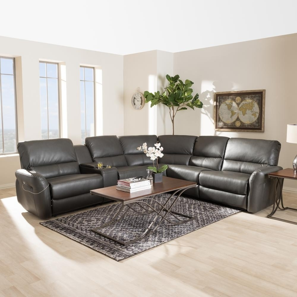 Grey Leather Reclining Sectional Clyde 3 Piece Power W Pwr Hdrst With Regard To Clyde Grey Leather 3 Piece Power Reclining Sectionals With Pwr Hdrst & Usb (Image 12 of 25)