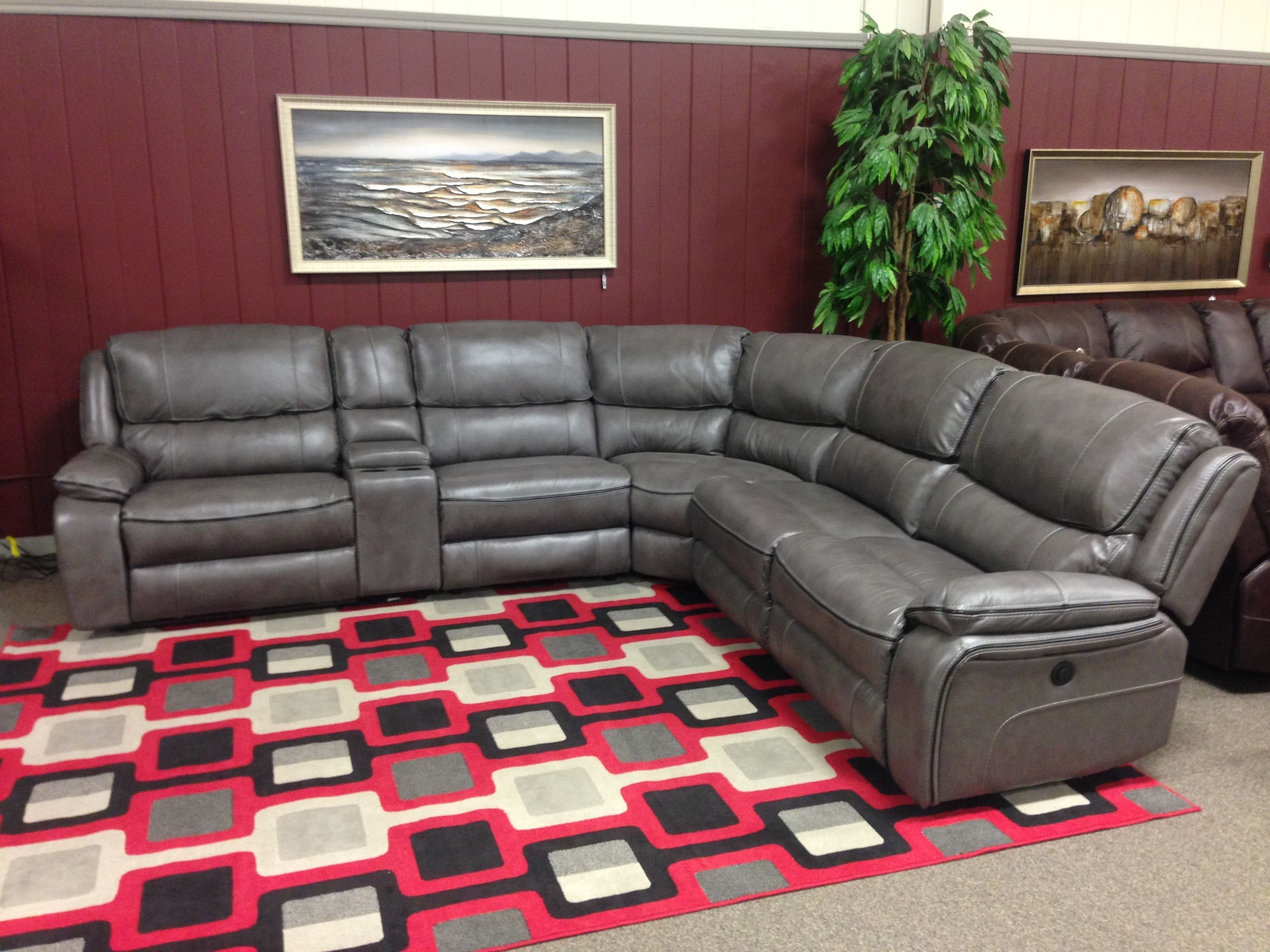 Grey Leather Reclining Sectional Travis Dk 6 Piece Power W Pwr Hdrst Pertaining To Clyde Grey Leather 3 Piece Power Reclining Sectionals With Pwr Hdrst & Usb (View 17 of 25)