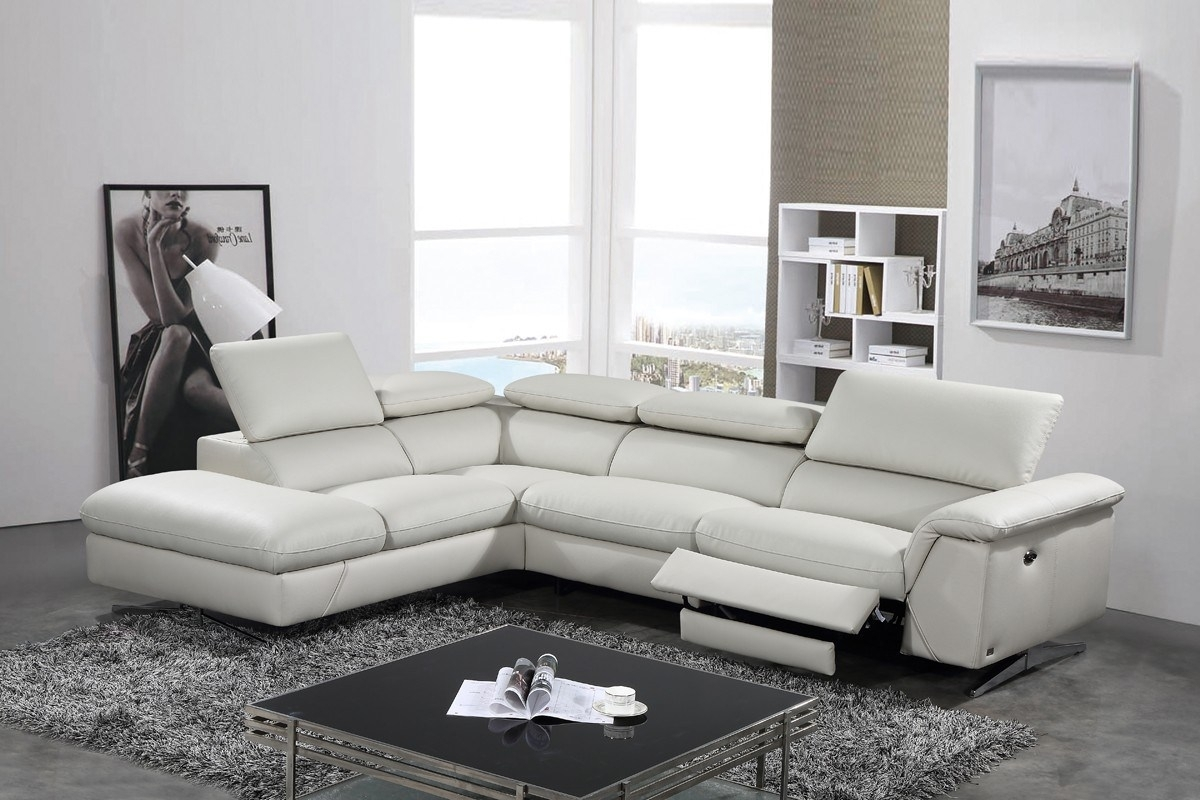 Grey Leather Sectional In Stylish Casual Classic Steel Piece For Tenny Dark Grey 2 Piece Right Facing Chaise Sectionals With 2 Headrest (View 20 of 25)