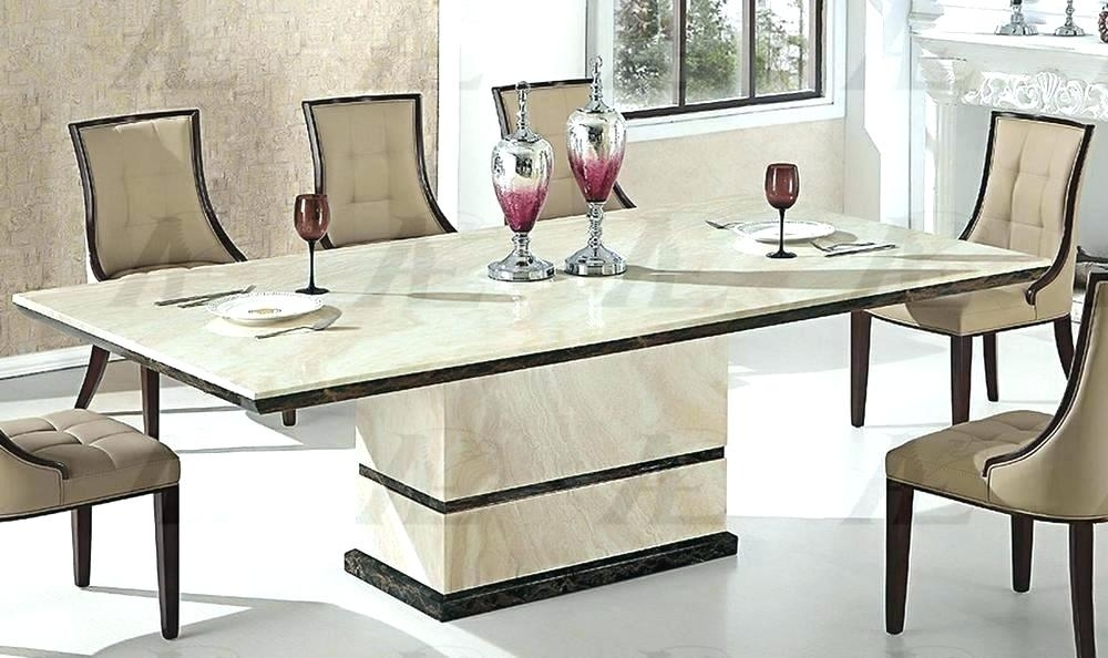 Grey Marble Dining Table Imported With White Leather Croc Chairs For Marble Effect Dining Tables And Chairs (Image 9 of 25)