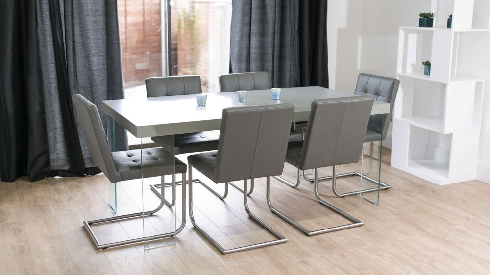 Grey Oak Dining Table With Glass Legs | Real Leather Quilted Dining Regarding Grey Dining Tables (View 11 of 25)