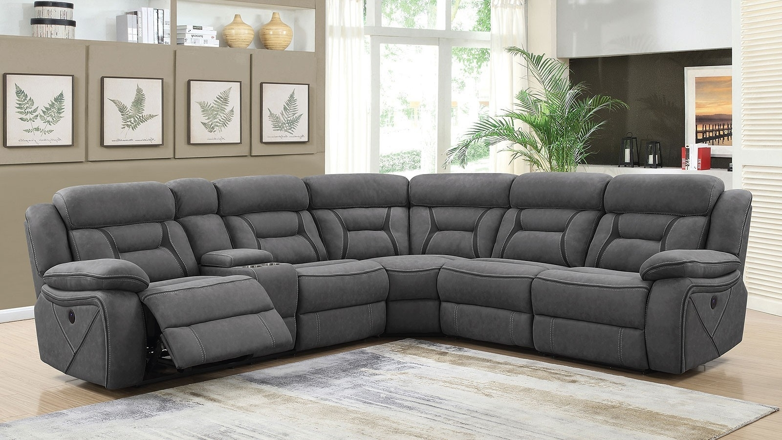 Grey Reclining Sectional – Implantologiabogota (View 3 of 25)