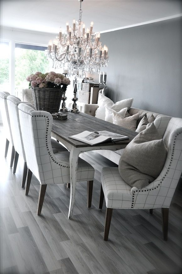 Grey Rustic Dining Table With Beautiful Fabric Chairs (Image 16 of 25)