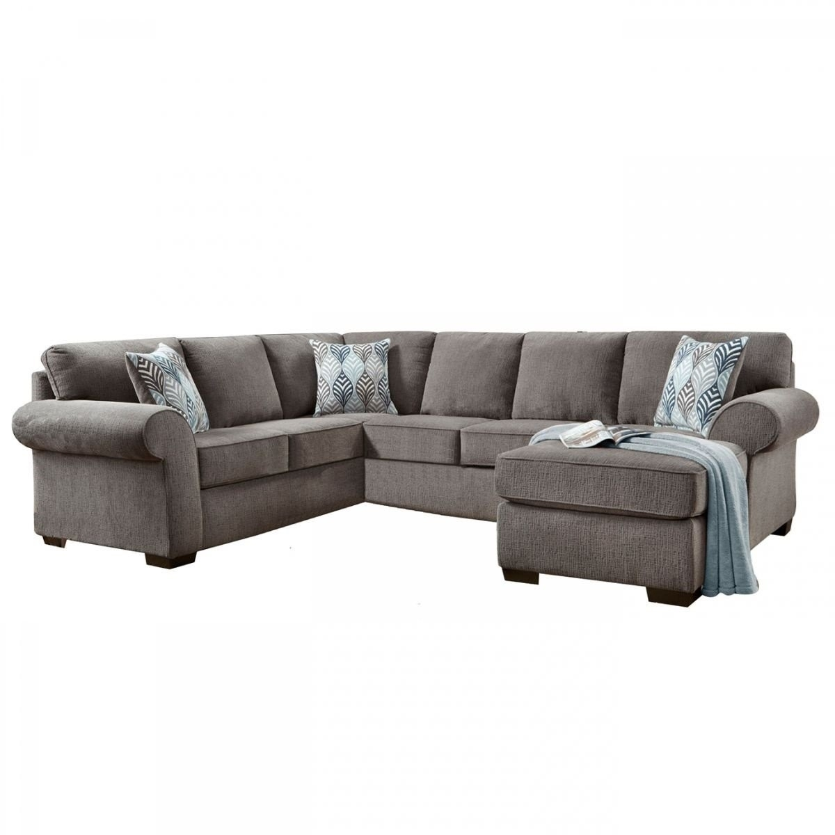 Grey Sectional Mcdade Graphite 2 Piece W Raf Chaise Living Spaces With Regard To Mcdade Graphite 2 Piece Sectionals With Raf Chaise (Image 8 of 25)