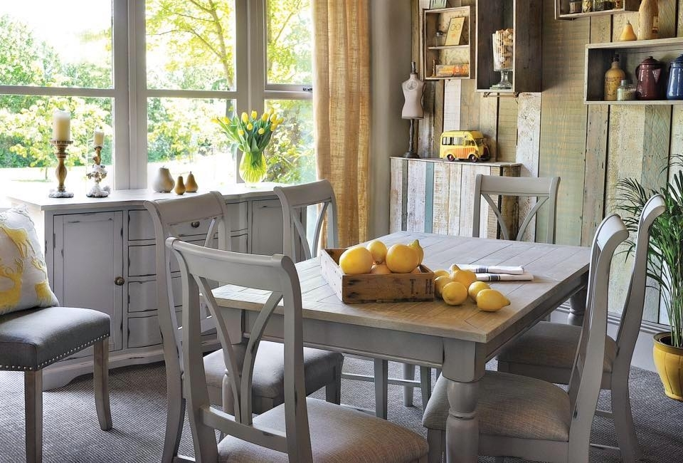 Grey Shabby Chic Extendable Dining Table - Bovary within Shabby Chic Extendable Dining Tables