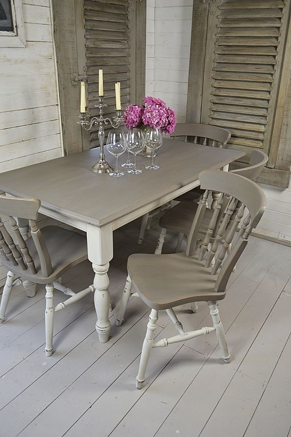 Grey & White Shabby Chic Dining Table With 4 Chairs Artwork | Dining For Shabby Chic Dining Sets (View 2 of 25)