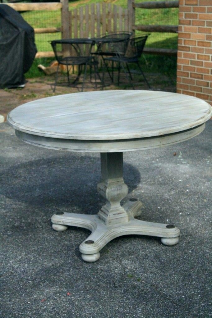 Grey Wood Round Dining Table Grey Round Table Modern Rustic Round with regard to Helms Round Dining Tables