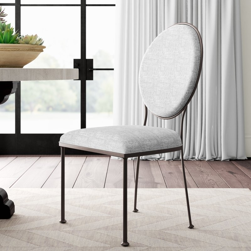 Greyleigh Cairo Oval Back Upholstered Dining Chair | Wayfair With Caira Black 7 Piece Dining Sets With Upholstered Side Chairs (Image 12 of 25)