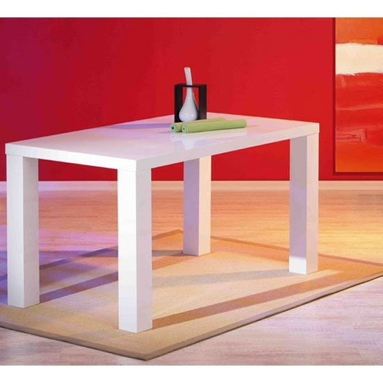 Guiseppe High Gloss Dining Room Table In White 19140 For White Gloss Dining Tables 140Cm (Image 8 of 25)