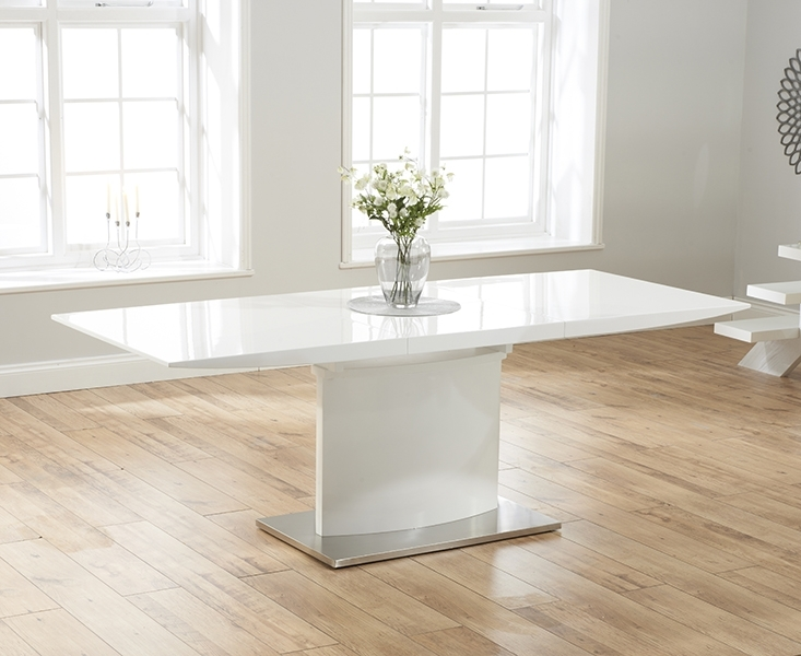 Hailey 160Cm White High Gloss Extending Dining Table In High Gloss White Extending Dining Tables (Image 8 of 25)