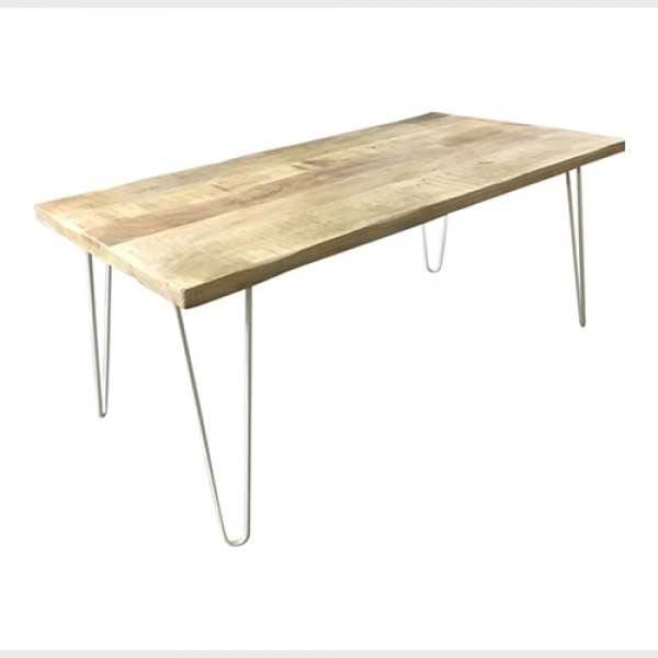 Hairpin Leg Dining Table In Timber With White Legs Pertaining To Dining Tables With White Legs (Image 13 of 25)