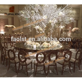Half Moon Round Shape Dubai Dining Tables And Chairs For Banquet Within Round Half Moon Dining Tables (Image 23 of 25)