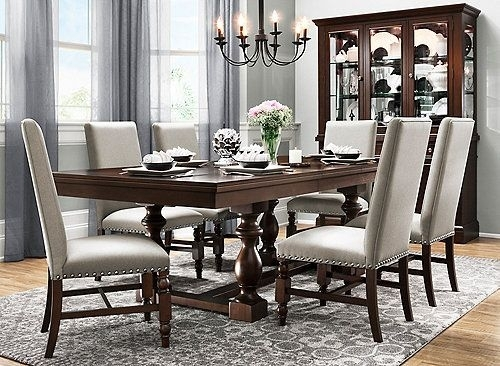 Halloran 7-Pc. Dining Set | Around The House | Pinterest | Dining intended for Candice Ii 7 Piece Extension Rectangular Dining Sets With Uph Side Chairs