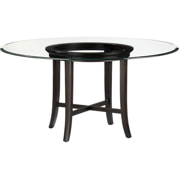 Halo Ebony Dining Table With 60 Glass Top In Furniture | Crate And intended for Norwood 7 Piece Rectangular Extension Dining Sets With Bench, Host & Side Chairs