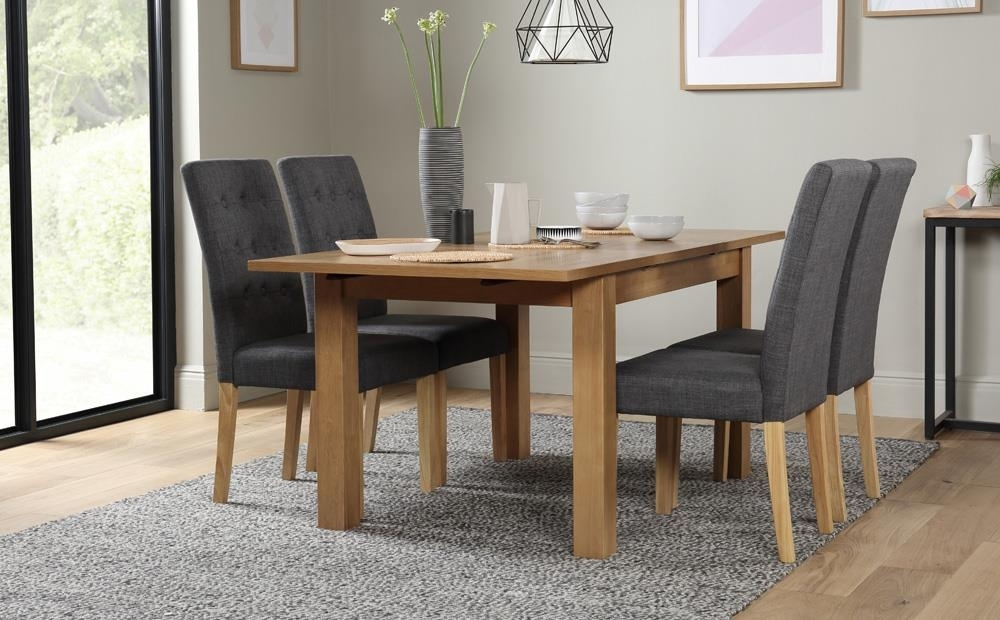 Hamilton 120 170Cm Oak Extending Dining Table With 4 Regent Slate Intended For Hamilton Dining Tables (Image 3 of 25)