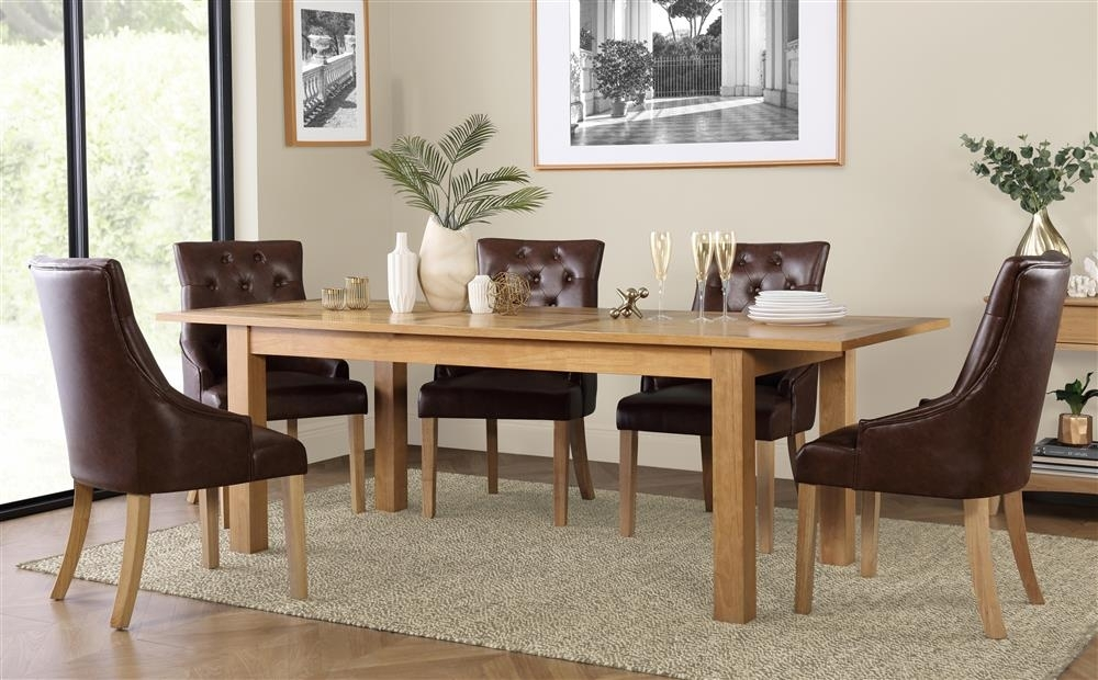 Hamilton 180 230Cm Oak Extending Dining Table With 6 Duke Club Brown In Hamilton Dining Tables (Image 4 of 25)