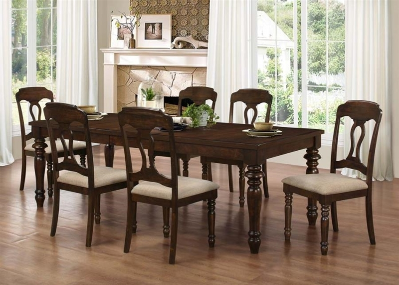 Hamilton 5 Piece Dining Set In Antique Tobacco Finishcoaster In Hamilton Dining Tables (Image 6 of 25)