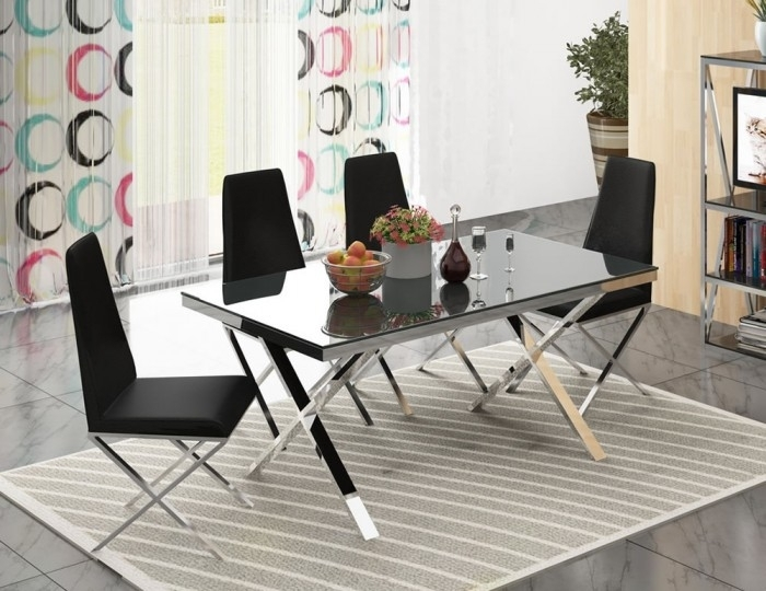 Hamilton Black Glass And Chrome Dining Set With Hamilton Dining Tables (Image 7 of 25)